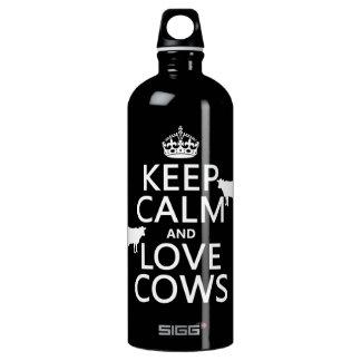 Behalten Sie Ruhe-und Liebe-Kühe (alle Farben) Wasserflasche