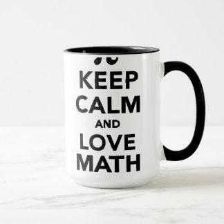 Behalten Sie Ruhe und Liebe Mathe-PU Tasse
