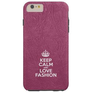 Behalten Sie Ruhe-und Liebe-Mode - rosa Leder Tough iPhone 6 Plus Hülle