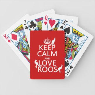 Behalten Sie Ruhe und Liebe Roos (Kängurus) Bicycle Spielkarten