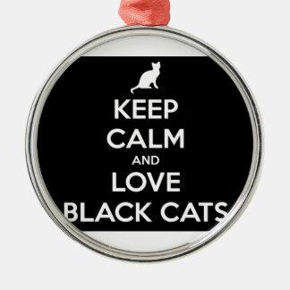 Behalten Sie Ruhe-und Liebe-schwarze Katzen Rundes Silberfarbenes Ornament