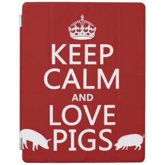 Behalten Sie Ruhe-und Liebe-Schweine (alle Farben) iPad Smart Cover
