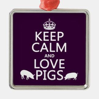 Behalten Sie Ruhe-und Liebe-Schweine (alle Farben) Silbernes Ornament