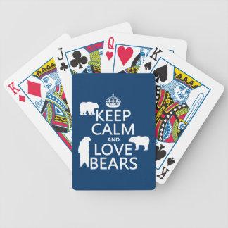 Behalten Sie Ruhe und Liebe trägt (in allen Bicycle Spielkarten