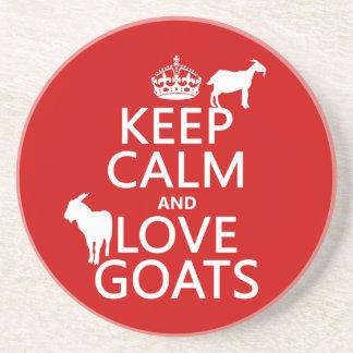 Behalten Sie Ruhe-und Liebe-Ziegen Untersetzer