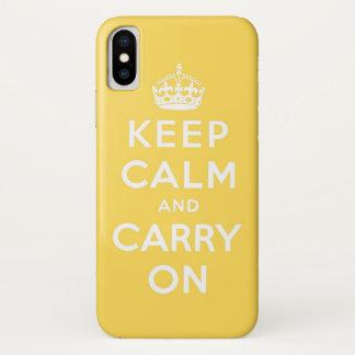 behalten Sie Ruhe und machen Sie Gelb weiter iPhone X Hülle