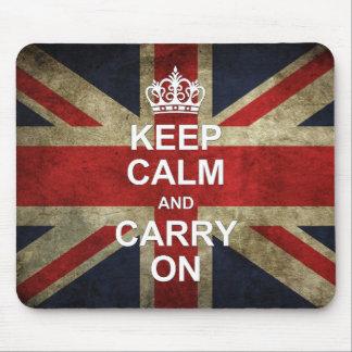 Behalten Sie Ruhe und machen Sie - Grunge-Briten-F Mousepads