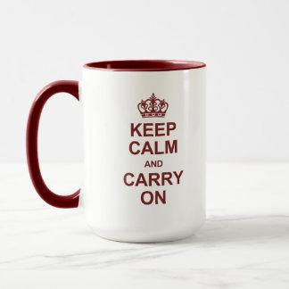 Behalten Sie Ruhe und machen Sie - Kastanienbraun Tasse