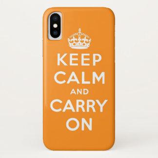 behalten Sie Ruhe und machen Sie Orange weiter iPhone X Hülle
