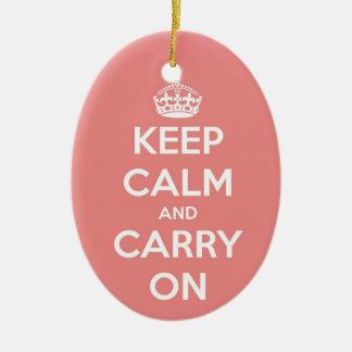 Behalten Sie Ruhe und machen Sie rosa ovale Keramik Ornament