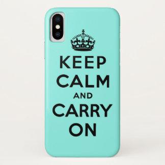 behalten Sie Ruhe und machen Sie Vorlage weiter iPhone X Hülle