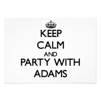 Behalten Sie Ruhe und Party mit Adams Ankündigungskarte