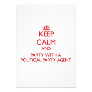 Behalten Sie Ruhe und Party mit einem politischen Individuelle Einladung
