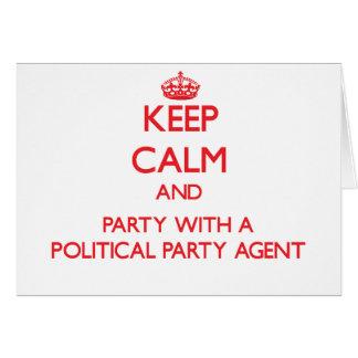 Behalten Sie Ruhe und Party mit einem politischen Karten