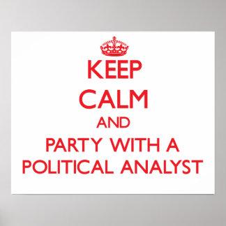 Behalten Sie Ruhe und Party mit einem politischen Posterdrucke