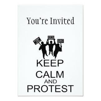 Behalten Sie Ruhe und Protest 12,7 X 17,8 Cm Einladungskarte