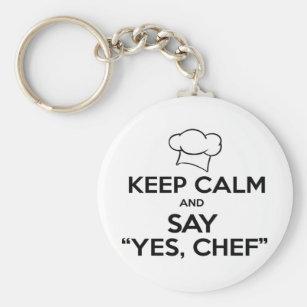 Behalten Sie Ruhe und sagen Sie ja Kochs-lustige Schlüsselanhänger