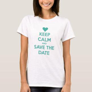 Behalten Sie Ruhe und Save the Date Blau T-Shirt