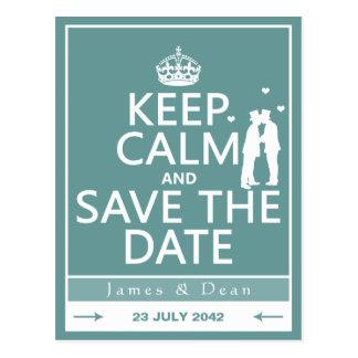 Behalten Sie Ruhe und Save the Date (völlig Postkarte