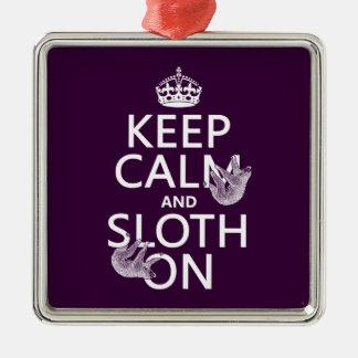 Behalten Sie Ruhe und Sloth an Silbernes Ornament