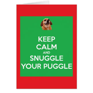 Behalten Sie Ruhe und Snuggle Ihr Puggle Gr/Red Karte