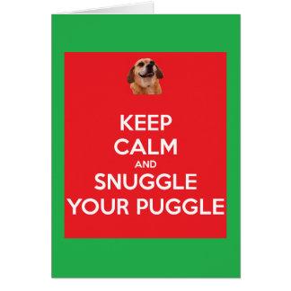 Behalten Sie Ruhe und Snuggle Ihr Puggle Red/Gr Karte