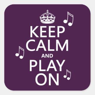 Behalten Sie Ruhe und Spiel an - Musiknoten - alle Quadratischer Aufkleber