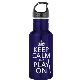 Behalten Sie Ruhe und Spiel auf (Clarinet) Edelstahlflasche