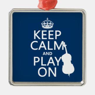 Behalten Sie Ruhe und Spiel auf (doppelter Baß) Silbernes Ornament