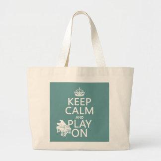 Behalten Sie Ruhe und Spiel auf (Klavier) Jumbo Stoffbeutel