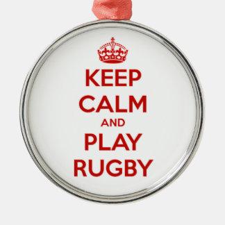 Behalten Sie Ruhe-und Spiel-Rugby Silbernes Ornament