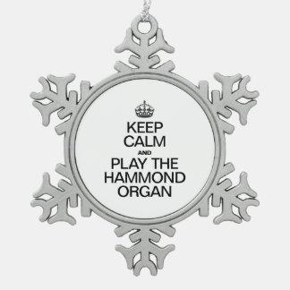 BEHALTEN SIE RUHE UND SPIELEN SIE DAS HAMMOND SCHNEEFLOCKEN Zinn-Ornament