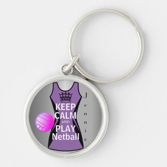 Behalten Sie Ruhe und Spielnetball-Entwurf Schlüsselanhänger