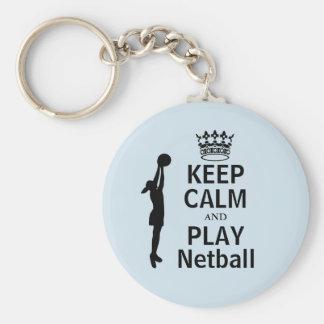 Behalten Sie Ruhe und Spielnetball-Spieler-Entwurf Standard Runder Schlüsselanhänger