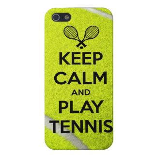 Behalten Sie Ruhe- und Spieltennissportball-Schläg iPhone 5 Schutzhüllen