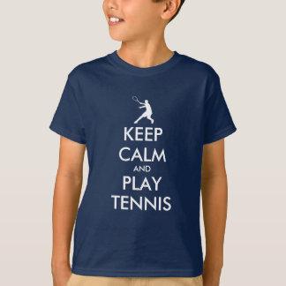 Behalten Sie Ruhe- und Spieltennist-shirt für T-Shirt