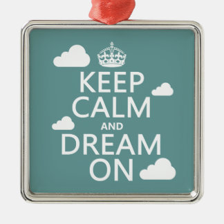 Behalten Sie Ruhe und Traum an (Wolken) - alle Quadratisches Silberfarbenes Ornament