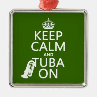 Behalten Sie Ruhe und Tuba auf (irgendeine Silbernes Ornament