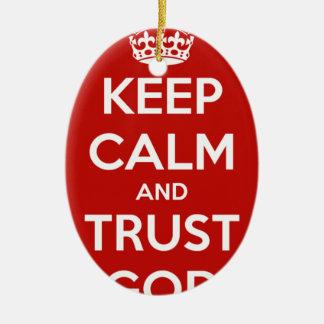 Behalten Sie Ruhe-und Vertrauens-Gott Ovales Keramik Ornament