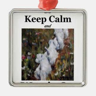 Behalten Sie Ruhe und Westie an, Quadratisches Silberfarbenes Ornament