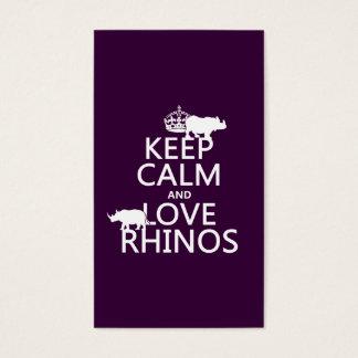 Behalten Sie Ruheund LiebeRhinos (irgendeine Visitenkarte