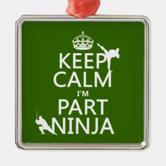 Behalten Sie ruhig ich ist Teil Ninja (in Quadratisches Silberfarbenes Ornament