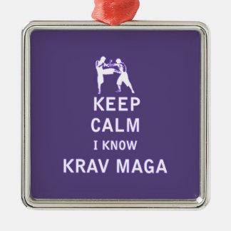 Behalten Sie ruhig ich kennen Krav Maga Quadratisches Silberfarbenes Ornament