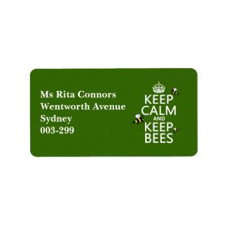 Behalten Sie ruhig und behalten Sie Bienen - alle Adressaufkleber