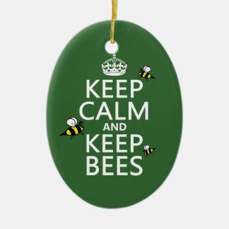 Behalten Sie ruhig und behalten Sie Bienen - alle Keramik Ornament