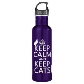 Behalten Sie ruhig und behalten Sie Katzen Trinkflasche