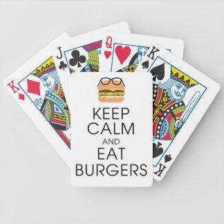 Behalten Sie ruhig und essen Sie Burger Bicycle Spielkarten