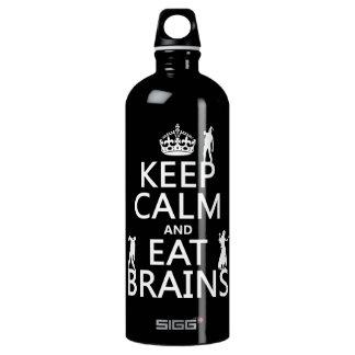 Behalten Sie ruhig und essen Sie Gehirne (Zombies) Aluminiumwasserflasche