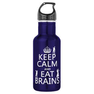Behalten Sie ruhig und essen Sie Gehirne (Zombies) Edelstahlflasche