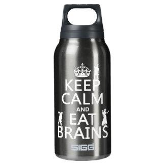 Behalten Sie ruhig und essen Sie Gehirne (Zombies) Isolierte Flasche